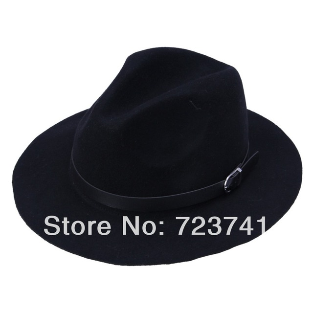 d90369cc96b Brand New Fashion Spring Pure Woolen Women s Large Black Hat Caps fedoras  hat Floppy Jazz hat Vintage Popular Hats