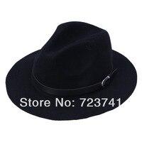 Stokta var! marka Yeni Moda Bahar Saf Yün/kadın Büyük Siyah Şapka Kapaklar fedoras şapka Disket Caz şapka Vintage Popüler şapka