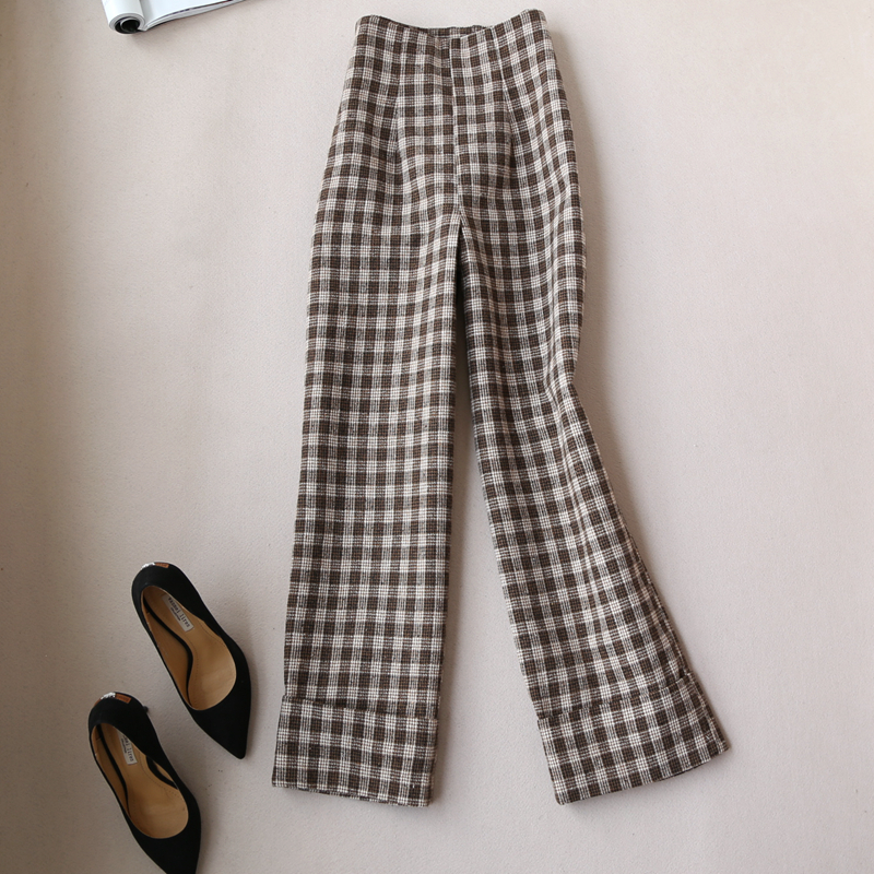 fashion winter woman lattice casual woolen   Wide     leg     pants   length woolen trousers High waist micro-  pants   casual Straight   pants