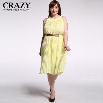 b53d4914f Más tamaño vestido de verano Nuevo 2018 M-7XL señoras impreso amarillo azul  vestido de