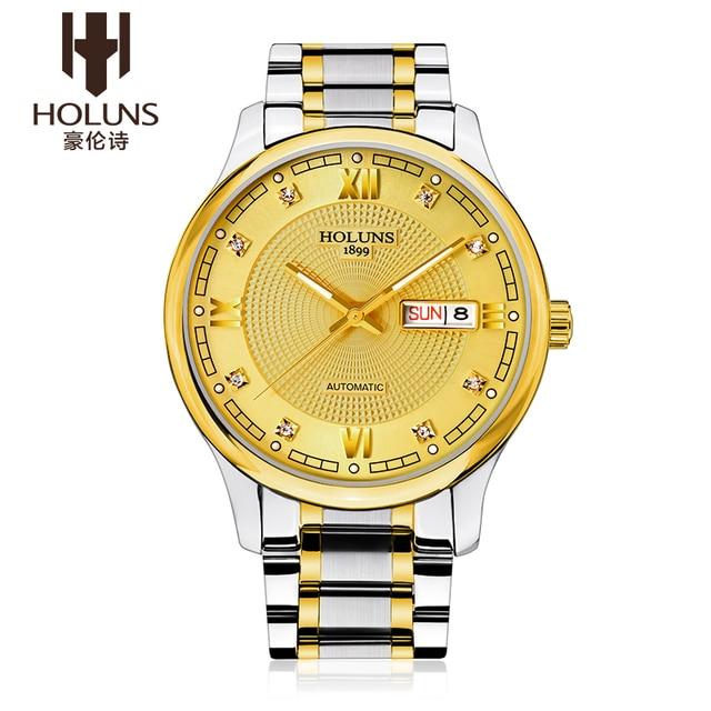 988cd3f00fb HOLUNS Assistir vidro de Safira Dos Homens Relógio de Ouro Homens de Aço  inoxidável Mecânico Automático