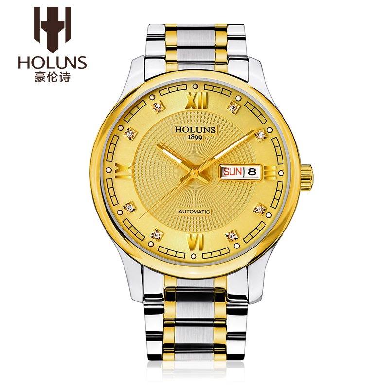 HOLUNS Watch Men Sapphire glass Gold Watch Men Automatic Mechanical stainless Steel date week wirst watch relogio masculino tevise fashion auto date automatic self wind watches stainless steel luxury gold black watch men mechanical t629a with tool