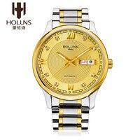 Holuns relógio masculino relógio de ouro de vidro de safira relógio automático mecânico aço inoxidável data semana wirst relógio relogio masculino