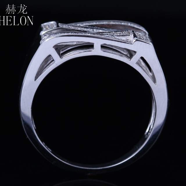 HELON Men's Sterling Silver 925 Finish Diamonds Ring Engagement Wedding Designer Fashion Band Fine Jewelry Party Diamonds Ring