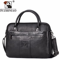 FUZHINIAO 2018 New Fashion Cowhide Male 14 Laptop Commercial Briefcase Real Genuine Leather Vintage Men S