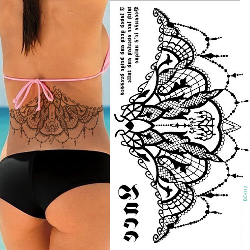 1pc New Chest Flash Tattoo 23models Large Black Magical Flower Sternum Tattoos Body/back Paint Waist Under Breast 24*13.8cm Girl