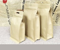 100pcs Kraft Paper Bag Zip Lock with Window Gift Tea Packaging Food Stand Up Pouches Zipper