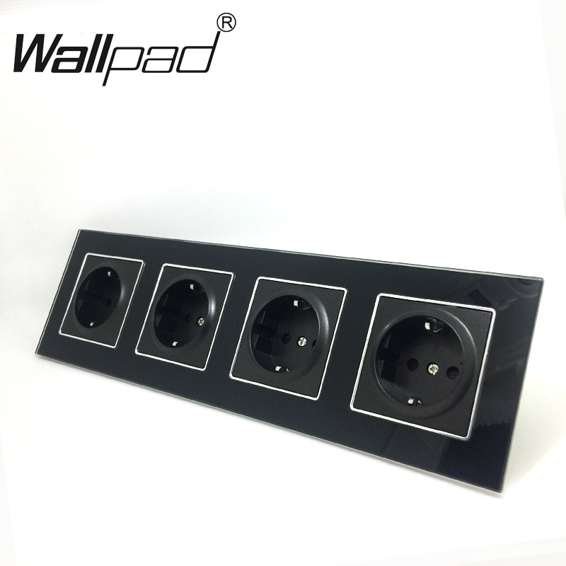 Quadruple EU Socket Round Box Mount CE Wallpad Luxury Black Crystal Glass 4 Frame 16A EU Standard Electrical Outlet with ClawsQuadruple EU Socket Round Box Mount CE Wallpad Luxury Black Crystal Glass 4 Frame 16A EU Standard Electrical Outlet with Claws
