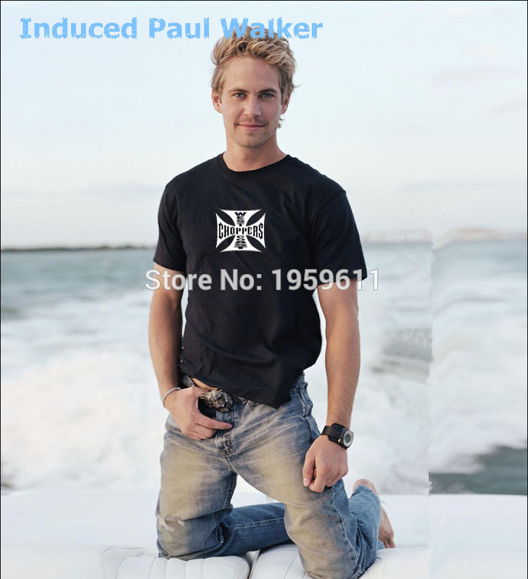 NewArrival Fast And Furious 7 Paul Walker Classic West Choppers Tee Shirt Short T Shirt Memory Paul Walker Collection Customized