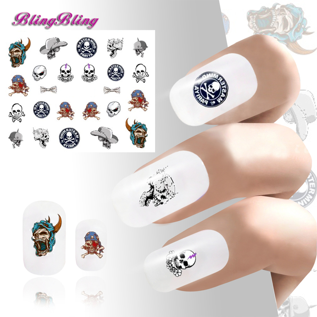 Blingbling 2pcs Diy Nail Sticker Waterslide Stickers Decals Skull Art Decoration Hat Bow
