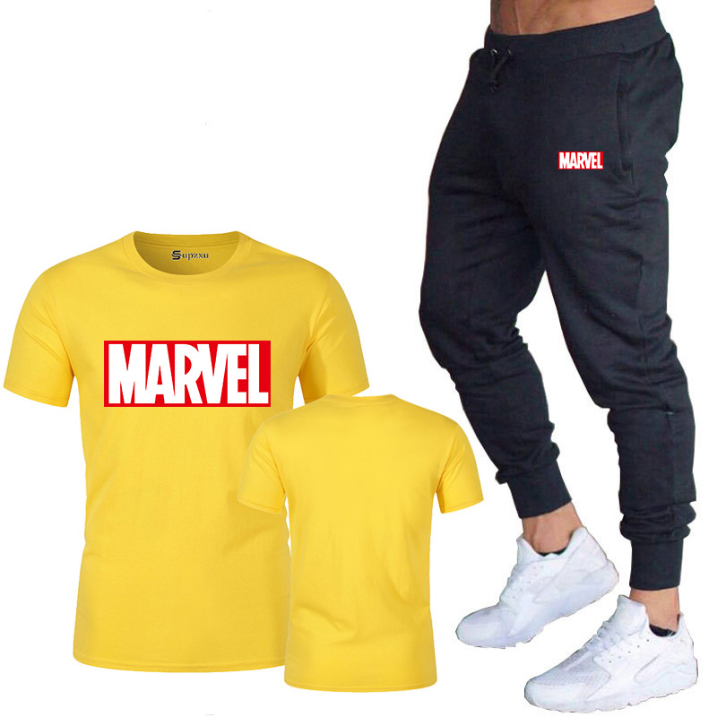 HTB1OEcwJ9zqK1RjSZFjq6zlCFXab New summer hot brand sale men's MARVEL suit T shirt + pants two piece casual sportswear printing shirts gym fitness pants 2019