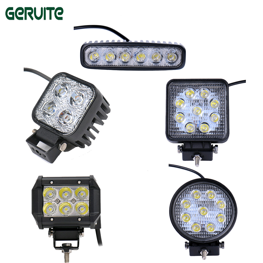 Geruite 2pcs 12w 18w 27w LED Work Light Lamp for Off Road 4WD 4x4 Truck SUV ATV Spot Flood Fog Lamp Worklight bar 18w work lights spot lamp off road driving fog 6 led bar atv 4x4 truck suv car styling auto parts accessories