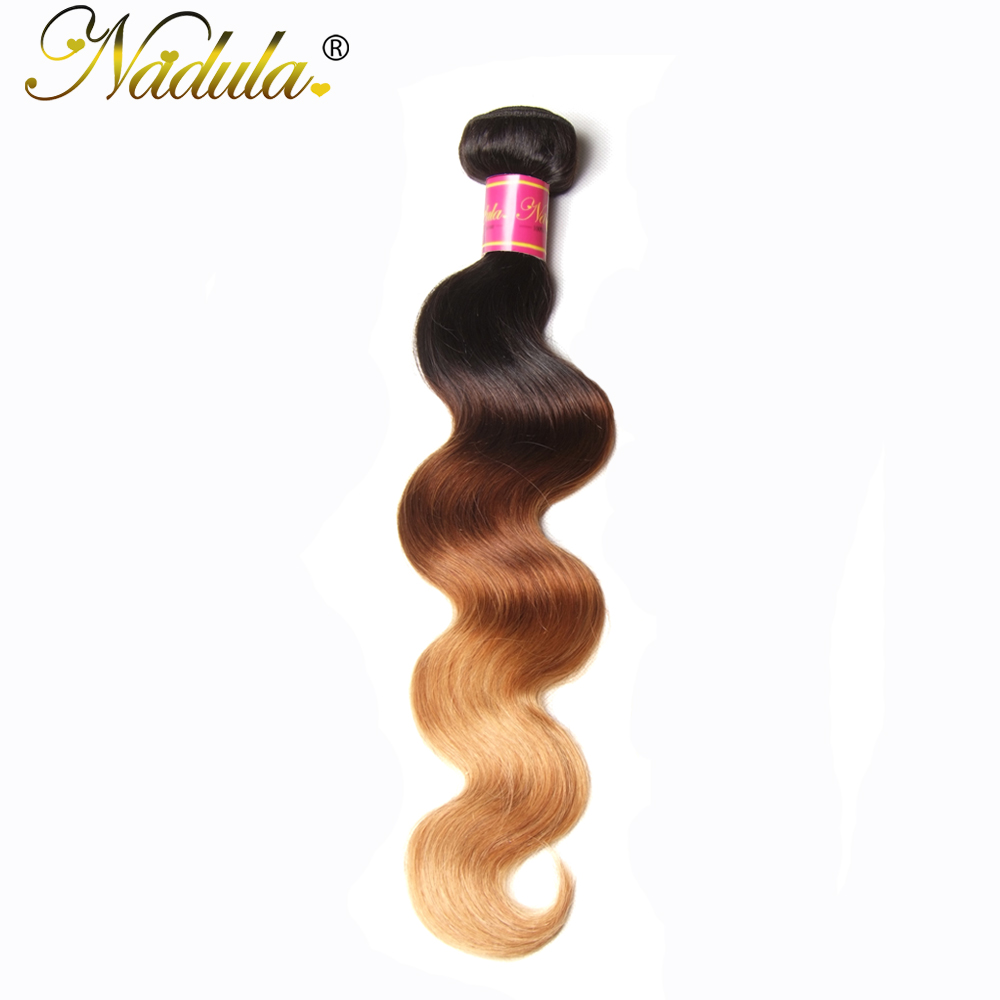 Nadula Hair  Body Wave Ombre Hair Bundles T1B/4/27 3 Tone  Hair s Machine Double Weft 1Bundle Can Be Mixed 1