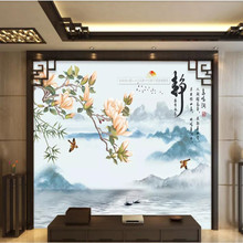 Bird song, ink, landscape, flower, bird, new Chinese style, living room, background, wall painting
