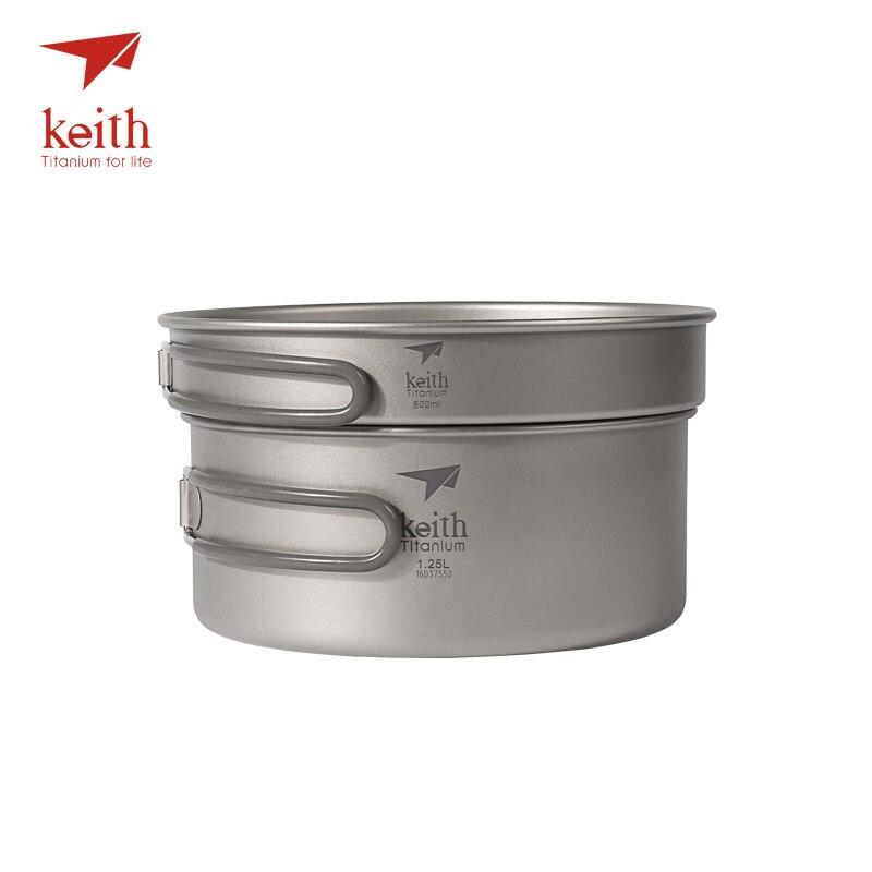 Batterie de cuisine en titane Keith 1.25L + poêle 800 ml bols d'extérieur ensembles de casseroles de Camping Ti6017