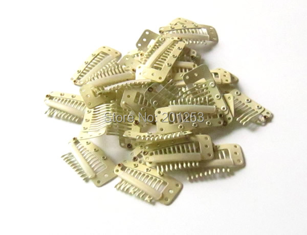 3.6cm 10 Teeth Hair Clip for Hair Extensions,Toupees Clips,Wig Clips,Hair Extensions Tools,Blonde,100pcs,Free Shipping