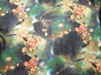 Cao cấp mulberry silk đen hoa màu xanh lá cây in khăn trải pha trộn các loại vải không khí mát mẻ vải có thể giặt vải giấy linen tissus au metr