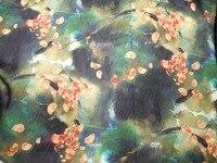 Seta di gelso anziano nero verde fiori biancheria da stampa mescolato tessuti tessuto lavabile carta fresca aria tessuto di lino tissus au metr