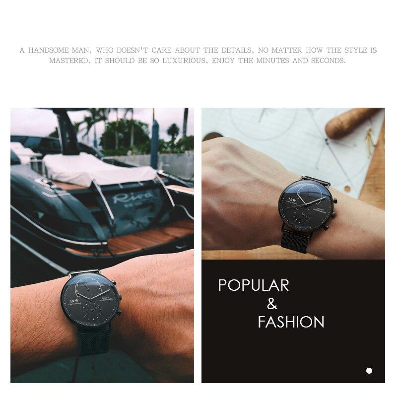 Хронограф светящийся Часы мужские 42 мм Япония miyota OS20 Move Мужские t кварцевые часы с ремешком из стали браслет черный ободок водонепроницаемы... - 4
