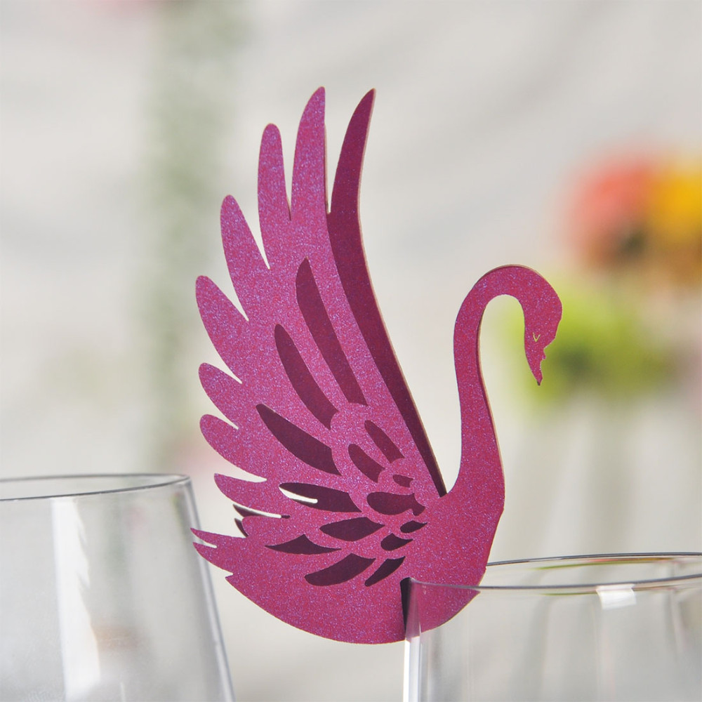 50pcs Purple Swan Laser Cutting Cup Card Wine Glass Card Party ...