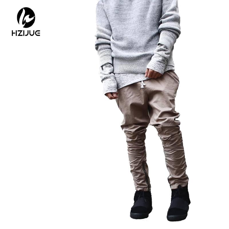 HZIJUE khaki / Hitam / Hijau korea hip hop fashion celana dengan koneksi pabrik ritsleting mens pakaian perkotaan pria jogging