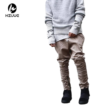 HZIJUE khaki/Black/Green korean hip hop fashion pants with zippers factory connection mens urban clothing joggers men fashionable men s briefcase with zippers and black colour design