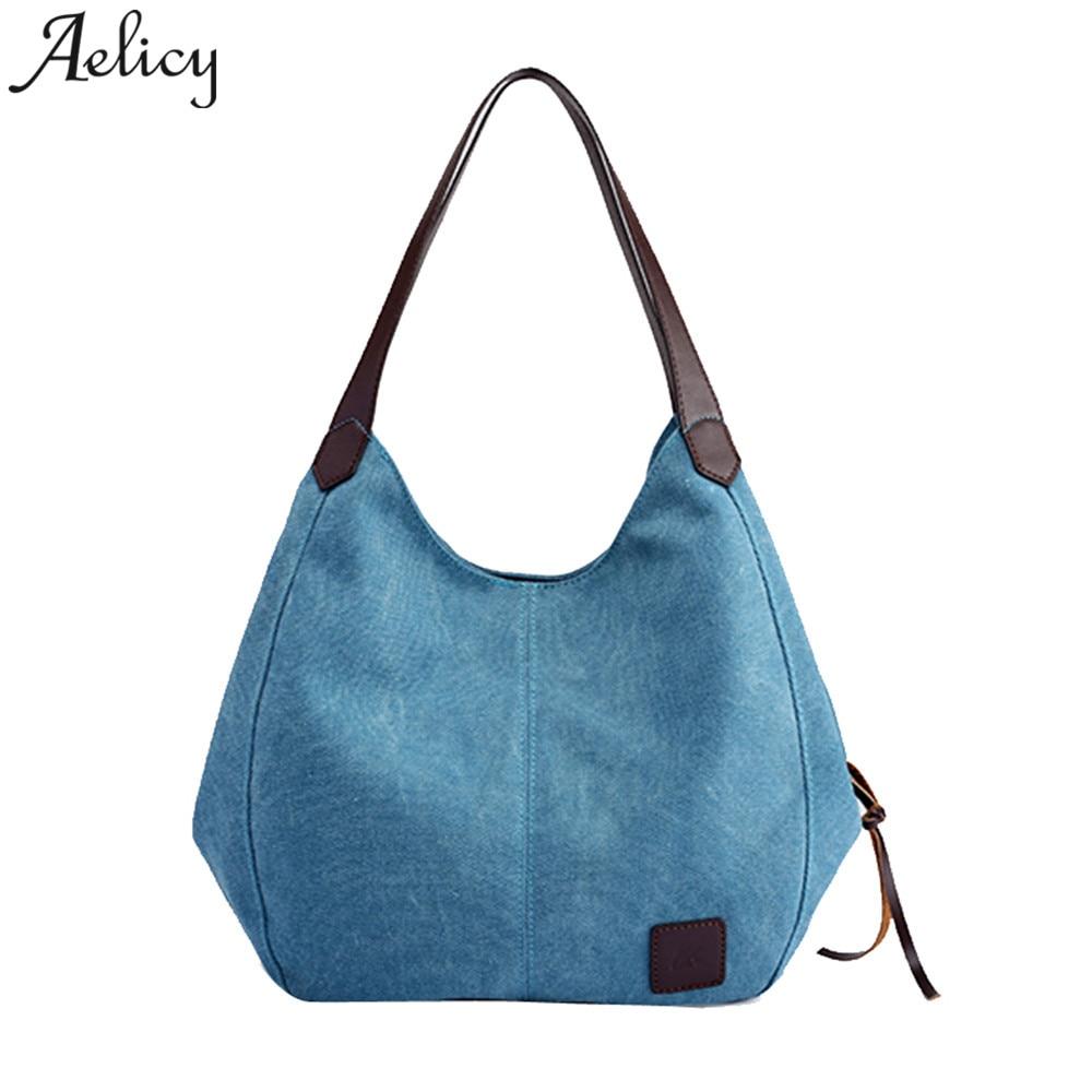 Light  Canvas Handbags Vintage  Female Hobos Single Shoulder Bags