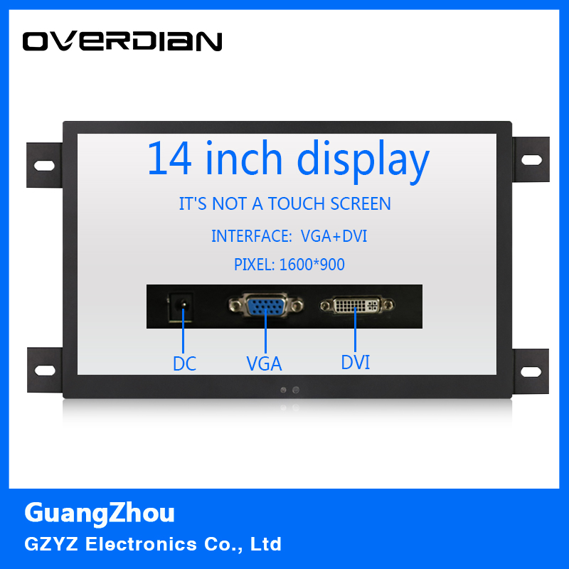 14 VGA/DVI Interface Industrial Control Lcd Non-Touch Monitor Metal Shell Black Embedded Frame1600*900 10inch metal shell bnc hdmi vga av interface hd monitor display lcd computer monitors