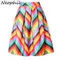 Neophil Rainbow Striped Fringe Printed 2016 Summer High Waist Jupe Femme Pleated Ruffle Flare Satin A-Line Womens Skirts S07048