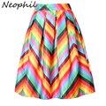 Neophil fringe impreso 2016 del verano del arco iris de rayas cintura alta jupe femme flare plisada del volante de raso una línea para mujer faldas s07048