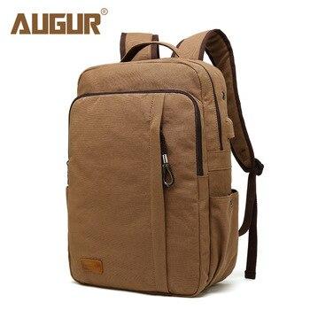 AUGUR Men Vintage Canvas Backpack 15.6 inch Laptop Backpack With USB Charging Notebook Bagpack Fashion Travel School Backpack