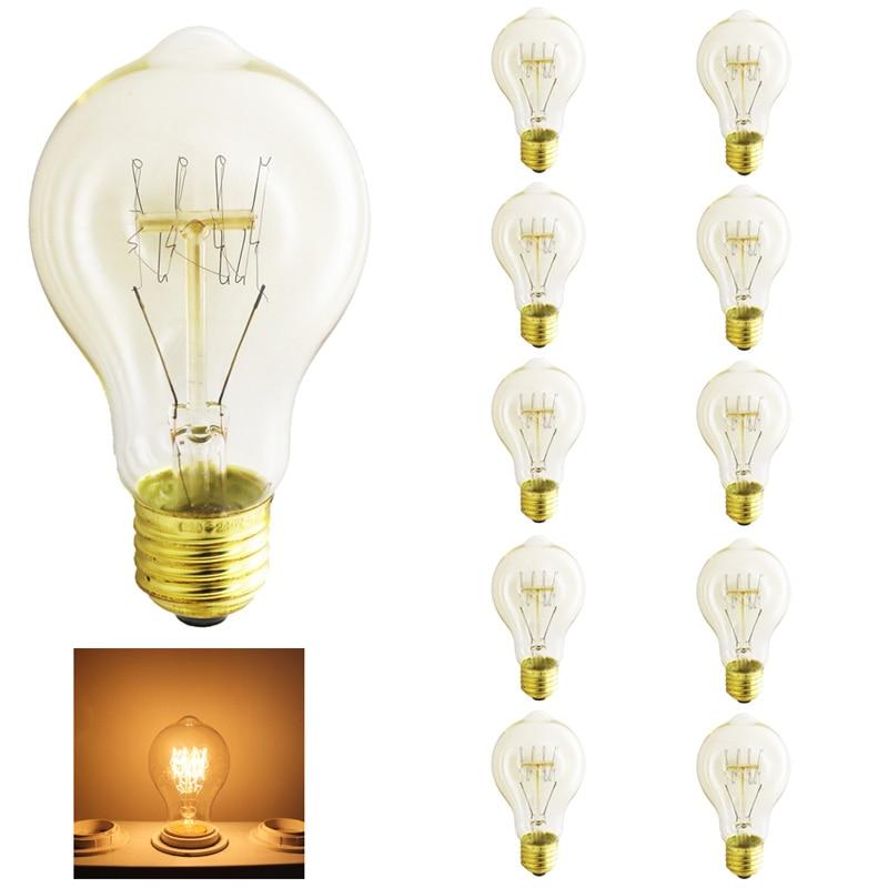 10x Light bulb vintage a19 retro edison lamp e27 incandescent bulb 220v flame lights lighting lampadina christmas Dimmable