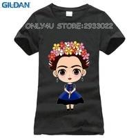 GILDAN T-shirt for women Fashion Casual Frida Kahlo Print T-Shirt Women O-neck Camisetas Mujer Harajuku White T shirt Femme