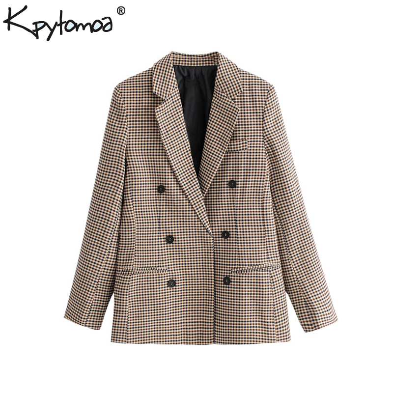 Vintage Double Breasted Plaid OL Blazers Coat Women 2020 Fashion Long Sleeve Office Ladies Outerwear Casual Workwear Jacket Tops