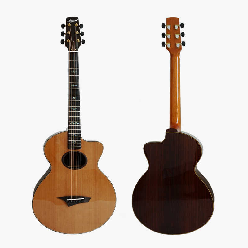 Aiersi Brand Small Size All Solid Vintage Design Fingerstyle Acoustic  Guitar Model SG03ARCS