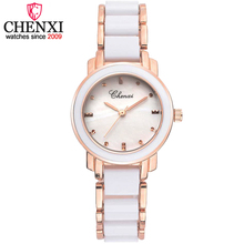 CHENXI Luxury Fashion Women Watches Quartz Watch Relojes mujer 2017 Ladies Ceramic ,steel Strap Female Dress Wristwatch Gift Box
