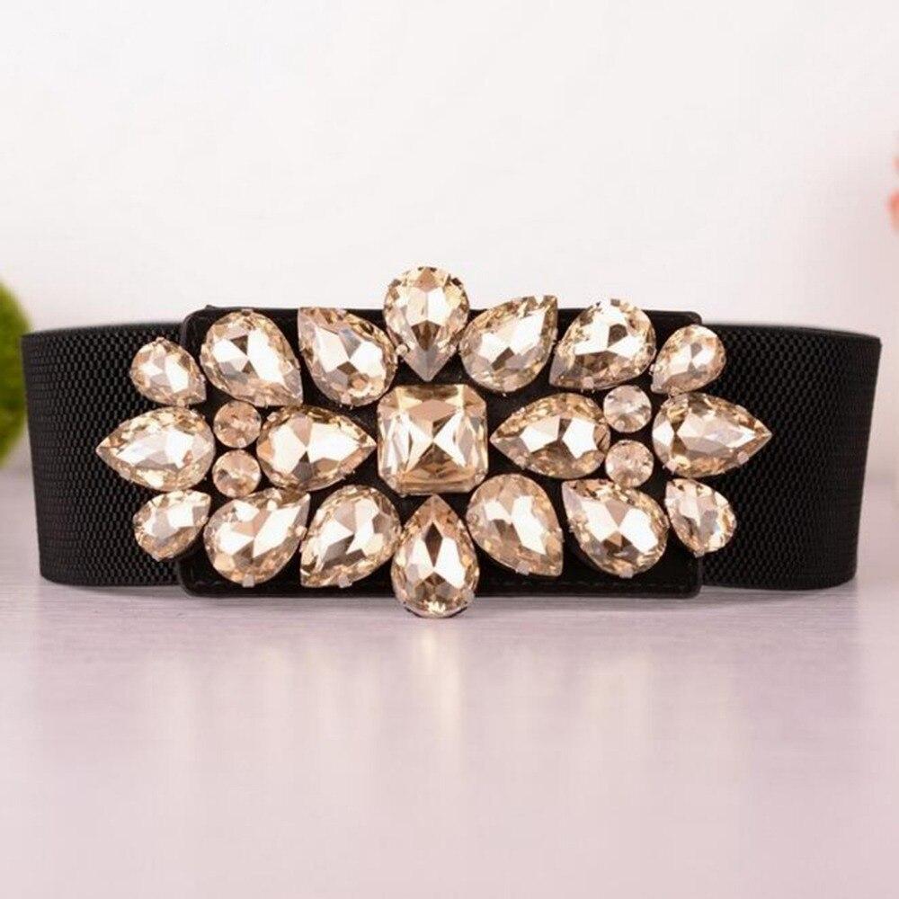 Fashion Woman Cummerbunds Corset Belts Crystal Buckle Elastic Waist Belt For Women Stretch Waistband Cinch Cinturon Ancho Mujer