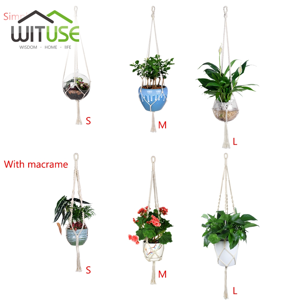 Nice Boho Europe Woven Linen Rope Basket Flowerpot Hanger Basket Plant Hanger Home Decoration Wall Hanger Basket Holder Sales Of Quality Assurance Hanging Baskets