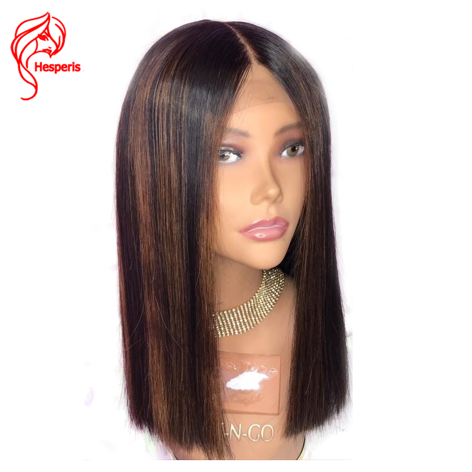 Hesperis Bob Human Hair Wigs Pre Plucked Brazilian Remy Hair Lace Front Human Hair Wig #27 Blonde Highlights Bob Lace Front Wigs