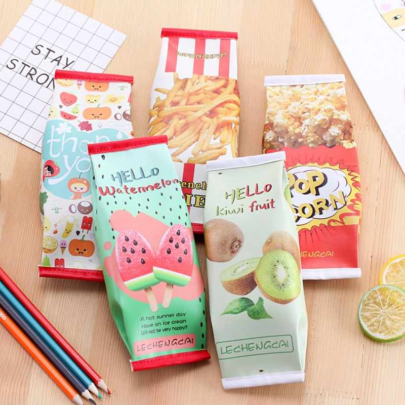 Cute Watermelon pencil case for girls kawaii snacks Popcorn pencil bag fruit pen stationery pouch gift school supplies zakka