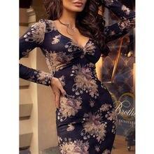 Summer Dresses 2019 New Spring Women Casual Long Sleeve V-Neck Skinny High Waist Midi Pencil Dress