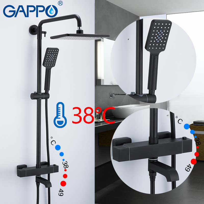 GAPPO shower system thermostatic mixer shower set black bathroom faucet water mixer Rainfall bathroom shower wall bathtub faucet dofaso quality black and chorme mixer thermostatic shower faucet bathroom wall mount simple thermostatic shower mixer set