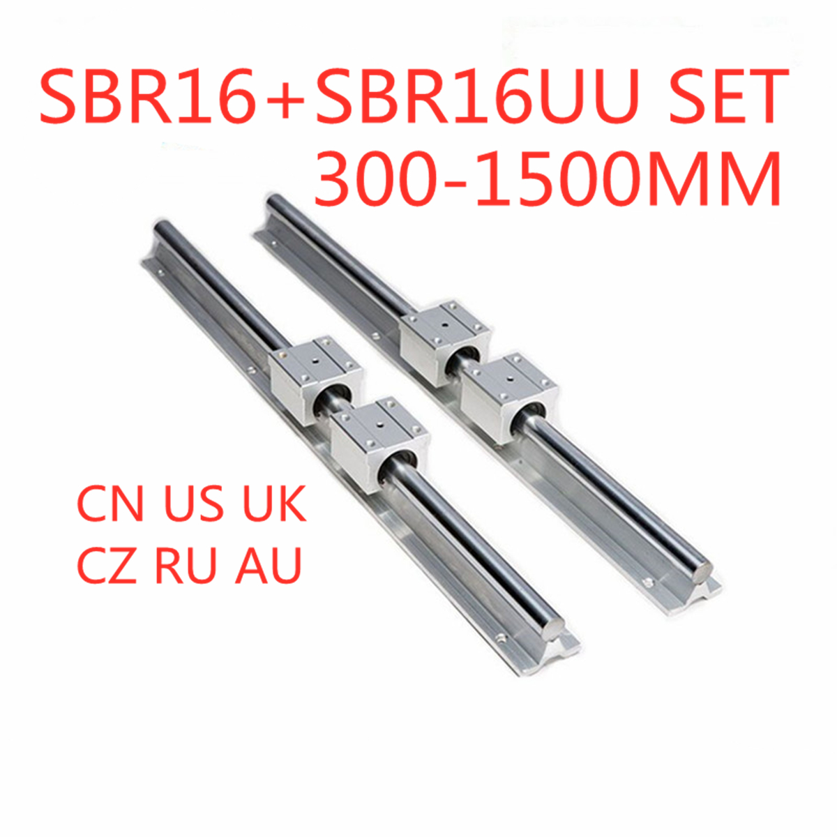 2Pcs SBR16 Linear Rail Guide 300 400 500 600 1000 1200 1500mm + 4pcs SBR16UU Linear Bearing Block Linear Rail Set