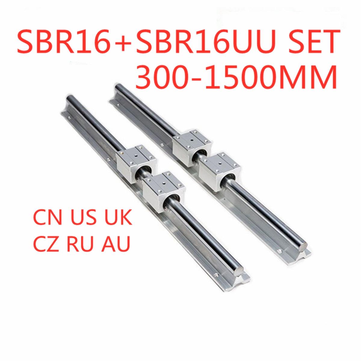 2Pcs SBR16 Lineare Rotaia di Guida 300 400 500 600 1000 1200 1500 millimetri + 4pcs SBR16UU Cuscinetto Lineare blocco di Guida Lineare Set