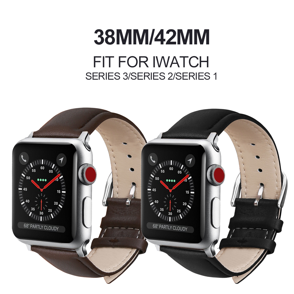 Watchband for Iwatch Series 4/3/2/1 Genuine Leather Strap Watch Band 38mm 42mm for Apple Watch Bracelet Belt Black Watchbands