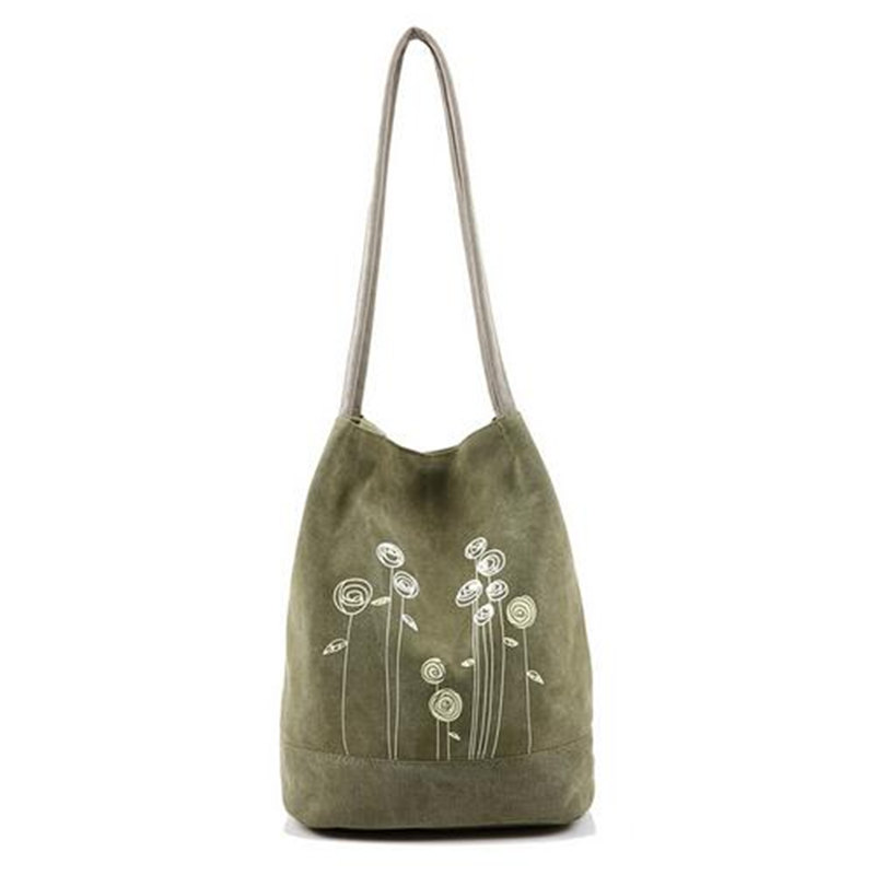 2017 Summer Fashion Simple Canvas Shoulder Bag Printing Women Large Bucket Handbag Casual Teenagers Floral School Tote Bag Bolso
