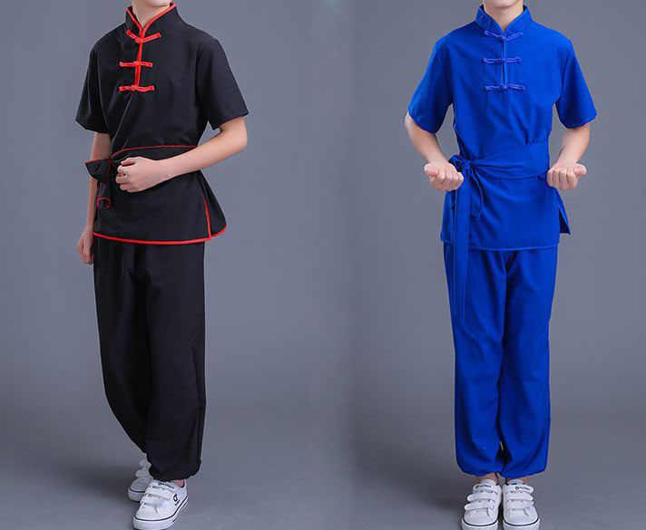 UNISEX 4 kleur blauw/rood/geel kinderen tai chi training suits kids kostuums gril/boy kung fu uniformen vechtsport kleding