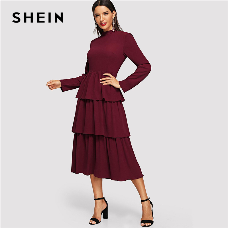 6279b1dbf1 SHEIN Burgundy Tiered Layer Ruffle Mock-Neck Solid Dress Elegant Fit and  Flare High Waist