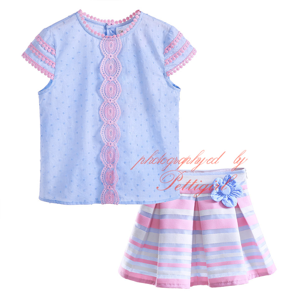 Pettigirl girl clothing sets blue tops and pink striped for Boutique tops