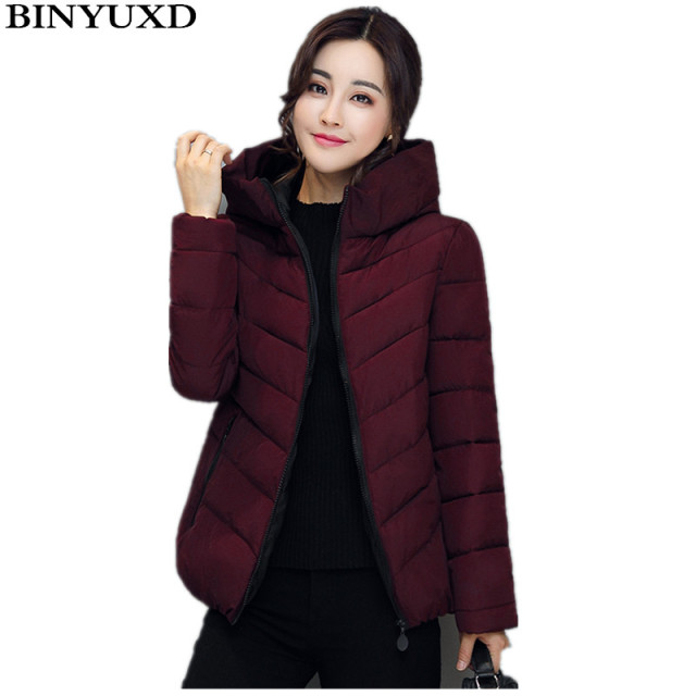BINYUXD Winter Jacket Women Cotton Short Jacket  Girls Padded Slim Hooded Warm Parkas Stand Collar Coat Female Autumn Outerwear